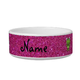 Personalized name frog pink glitter cat bowl