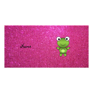 Personalized name frog pink glitter customized photo card