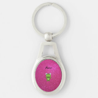 Personalized name frog pink glitter keychain