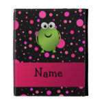 Personalized name frog pink polka dots iPad folio cover