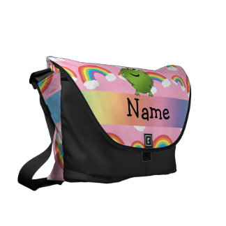 Personalized name frog pink rainbows messenger bag