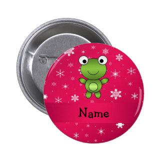 Personalized name frog pink snowflakes button