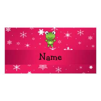 Personalized name frog pink snowflakes personalized photo card