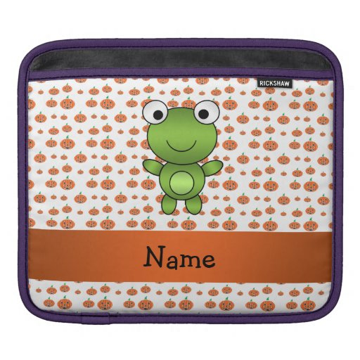 Personalized name frog pumpkins pattern sleeve for iPads