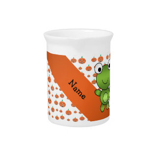 Personalized name frog pumpkins pattern pitchers