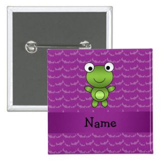 Personalized name frog purple bats 2 inch square button