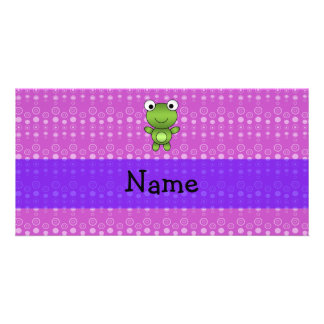 Personalized name frog purple bubbles photo card template