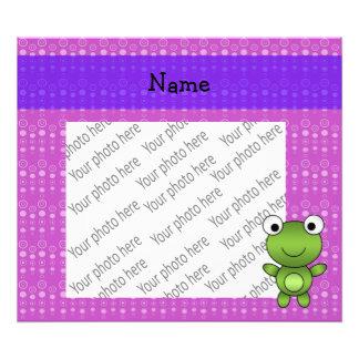 Personalized name frog purple bubbles art photo