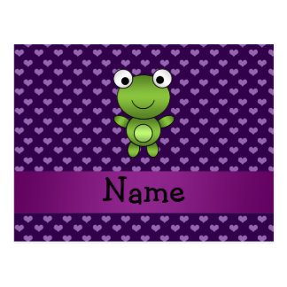 Personalized name frog purple hearts postcard
