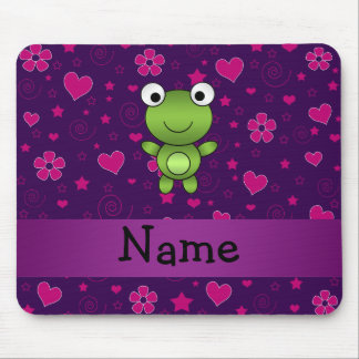 Personalized name frog purple pink flowers hearts mouse pad