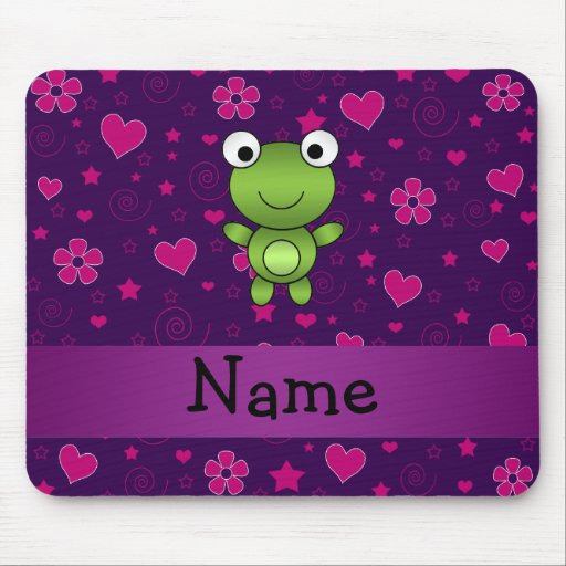 Personalized name frog purple pink flowers hearts mousepad