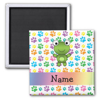 Personalized name frog rainbow paws refrigerator magnets