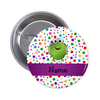 Personalized name frog rainbow polka dots 2 inch round button