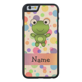 Personalized name frog rainbow polka dots carved maple iPhone 6 case