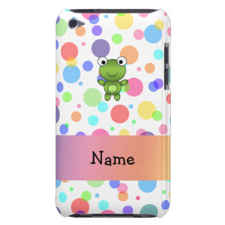 Personalized name frog rainbow polka dots Case-Mate iPod touch case