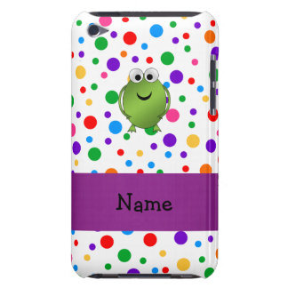 Personalized name frog rainbow polka dots iPod touch cases