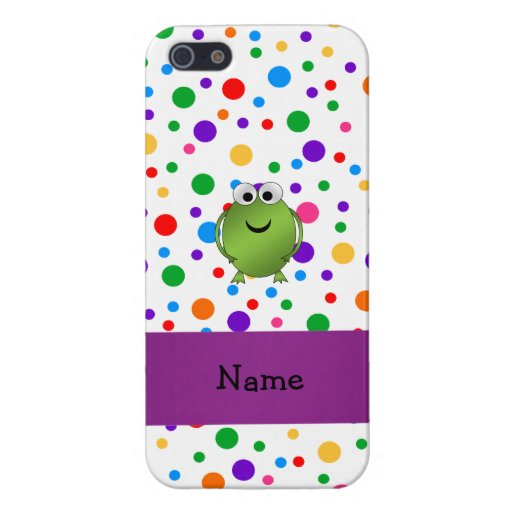 Personalized name frog rainbow polka dots case for iPhone 5