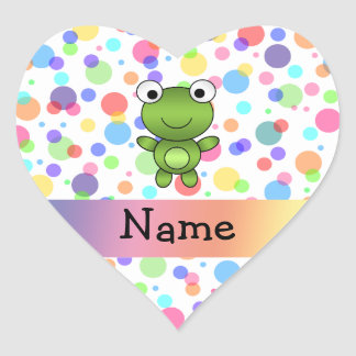Personalized name frog rainbow polka dots heart sticker