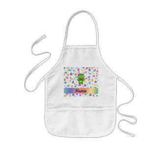 Personalized name frog rainbow polka dots kids' apron
