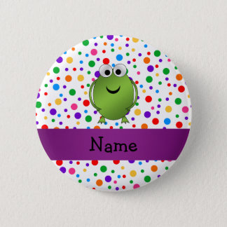 Personalized name frog rainbow polka dots pinback button