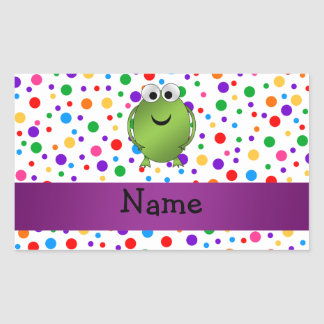 Personalized name frog rainbow polka dots rectangle sticker