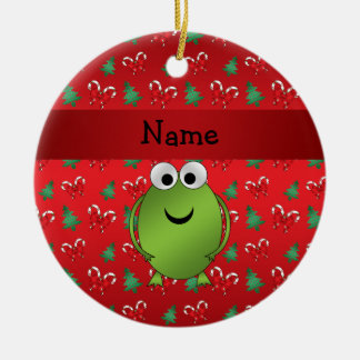Personalized name frog red candy canes trees ceramic ornament