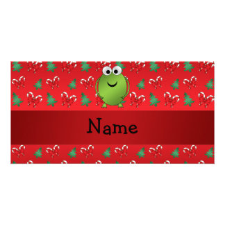 Personalized name frog red candy canes trees customized photo card