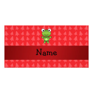 Personalized name frog red christmas trees photo card template
