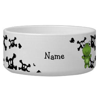Personalized name frog skulls pattern bowl