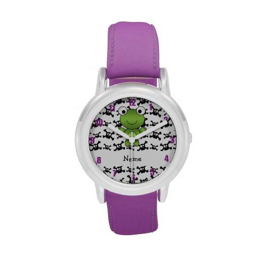 Personalized name frog skulls pattern wristwatch