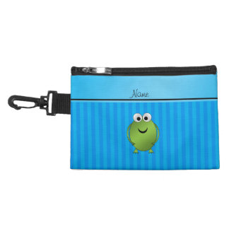 Personalized name frog sky blue stripes accessories bag