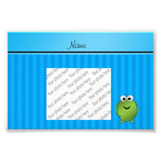 Personalized name frog sky blue stripes photograph