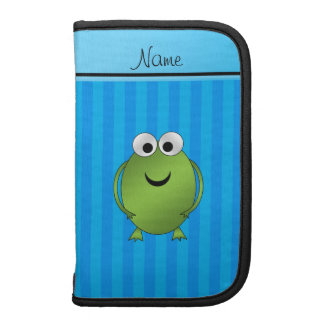 Personalized name frog sky blue stripes organizers