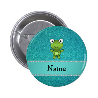 Personalized name frog turquoise glitter 2 inch round button