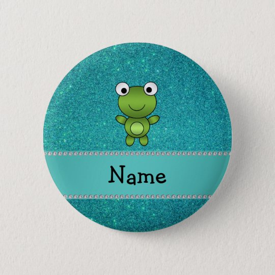 Personalized name frog turquoise glitter button