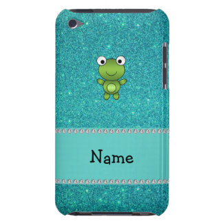 Personalized name frog turquoise glitter iPod touch case