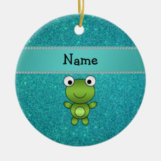 Personalized name frog turquoise glitter ceramic ornament