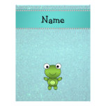 Personalized name frog turquoise glitter flyer design