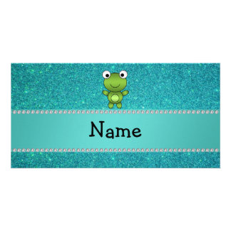 Personalized name frog turquoise glitter custom photo card