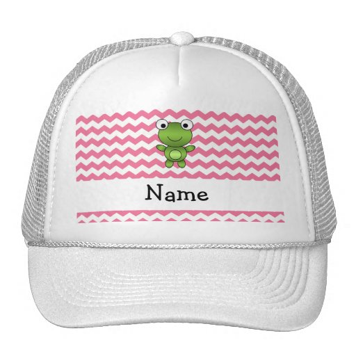 Personalized name frog white and pink chevrons trucker hat