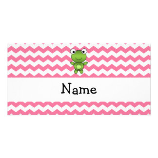 Personalized name frog white and pink chevrons photo greeting card
