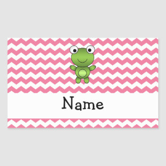 Personalized name frog white and pink chevrons rectangular sticker