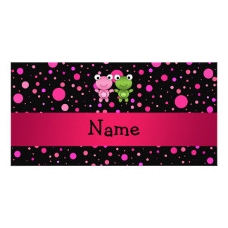 Personalized name frogs black pink polka dots personalized photo card