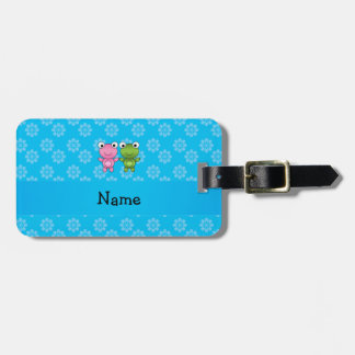 Personalized name frogs blue flowers travel bag tags
