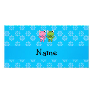 Personalized name frogs blue flowers customized photo card