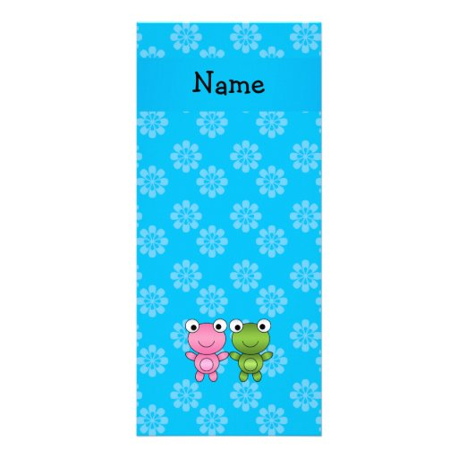 Personalized name frogs blue flowers rack card template