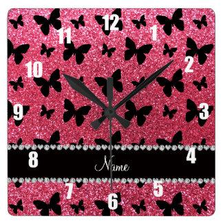 Personalized name fuchsia pink glitter butterflies wall clocks