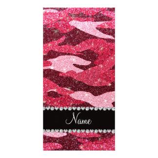 Personalized name fuchsia pink glitter camouflage personalized photo card