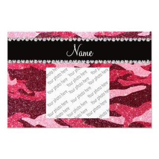 Personalized name fuchsia pink glitter camouflage art photo