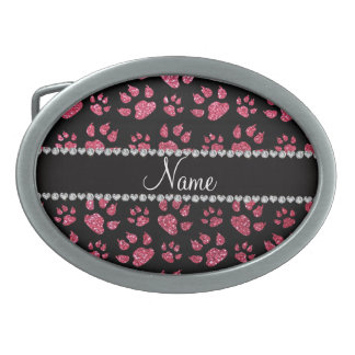 Personalized name fuchsia pink glitter cat paws oval belt buckles